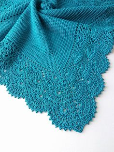 Crochet baby blanket Great as a gift for christening, baby showers, newborn babies or just for your special little one. * Colour: Dark Teal * Measurements: Approximately width - 31,5 (80,0 cm), lenght - 31,5 (80,0 cm). * Materials: 100% cotton. * Care instructions: Hand wash recommended and