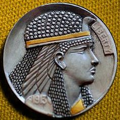 CHRIS DeCAMILLIS HOBO NICKEL - CLEO - 1913 BUFFALO PROFILE Antique Coins, Old Coins, Foreign Coins, Hobo Nickel, Coin Art, Memento Mori, Coin Collecting, Postage Stamps, Art Forms
