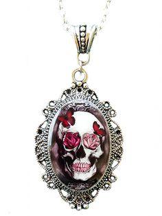 """Skull & Roses"" Cameo by Alkemie & Artistry #inked #inkedshop #inkedmagazine #jewelry #necklace"