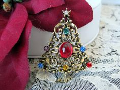 Vintage JJ Christmas Tree Brooch Pin by VintagObsessions on Etsy, $18.00