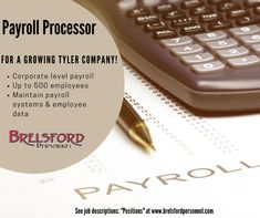 Payroll Processor for a growing Tyler company! - corporate level payroll - up to 500 employees - maintain payroll systems & employee data Call us at 903.561.2996 Brelsford Personnel #brelsfordpersonnel #brelsford #personnel #jobopening #payrollprocessor #resume #resumes #easttexas #staffing #staffingagency #recruitingagency #staffingfirm #recruiting #recruitingfirm #staffingandrecruiting #recruitinglife #staffinglife #tylertexas #tylertx #east #texas Tyler Texas, Job Posting, Job Description, Resume, Positivity, Cv Design, Optimism