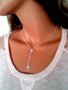 Cross Necklace Rainbow Moonstone Sterling Silver Rosary by divinitycollection, $90.00