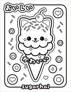 free ice cream cat coloring page