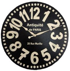 Large Wall Clock 30 inch Murillo PARIS - Black tuscan antique style big french style numbers