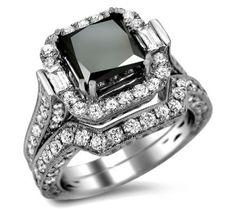 6.0ct Black Princess Cut Diamond Engagement Ring Bridal Set 18k White Gold