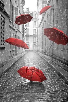 Red umbrellas from $34.99 | www.wallartprints.com.au #BlackAndWhitePhotography #WallArtPrints