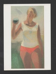 ART CARD USSR CCCP RUSSIA SPORTS BLONDE GIRL SPORT LAUNCH OF WEIGHTS z1