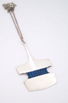 David Andersen Norway large vintage modernist heavy silver enamel pendant