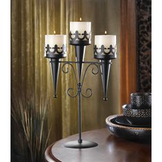 Medieval Gothic Triple Candle Candelabra Stand | eBay