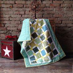 УТРЕННЯЯ ЗВЕЗДА лоскутное покрывало, пэчворк - бирюзовый, лоскутное шитье, лоскутное одеяло