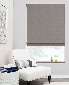 Pattern Herringbone, Color: Toast for basement guest room Flat Roman Shades | Customize | The Shade Store
