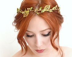 Leaf crown, gold vine crown, goddess head piece, wedding headband, hair accessory