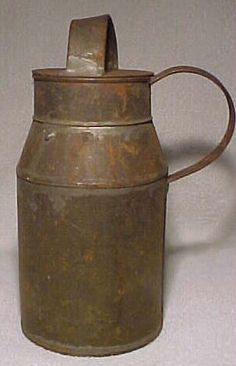 1800s Country Primitive Tin Milk Cream Can with the Cover...