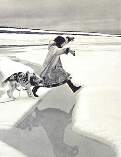 ice arctic jump black and white photography Portraits Victoriens, Inuit People, Arctic Circle, Girl And Dog, Snow Queen, Ice Queen, The Last Airbender, First Nations, Black And White Photography