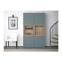 "BESTÅ Storage combination w/glass doors, walnut effect light gray, Valviken gray-turquoise clear glass - 47 1/4x15 3/4x75 5/8 "" - IKEA"