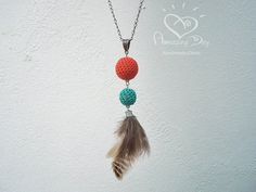 Modern Feather Necklace, Crochet & Feather Pendant, Hipster Boho Long Statement Necklace, Aqua Blue - Salmon Trendy long Pendant 2014 Summer