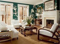 Are Green and White Rooms Coming Back Soon? - ralph lauren home British Colonial East Indies style with green and white wallpaper -High-Low Ralph - My Living Room, Home And Living, Ralph Lauren Home Living Room, Simple Living, Living Spaces, Green Rooms, White Rooms, British Colonial Decor, Living Room Ideas