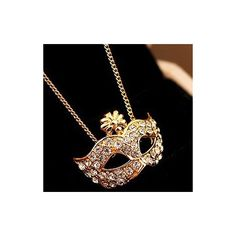 Rotita Special Fashion Woman Diamante Gold Fox Mask Necklace ($4.93) ❤ liked on Polyvore featuring jewelry, necklaces, accessories, joias, gold, gold jewelry, gold jewellery, fox jewelry, diamante necklace and party jewelry