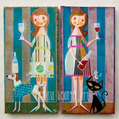 """""""never drink alone"""", two 6""""x12"""" mixed media acrylic paintings by Melissa Belanger"""