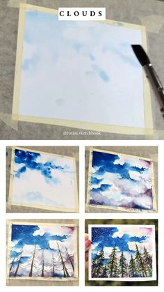 Mini cloud painting tutorial with step by step process photos. Mini cloud painting tutorial with step by step process photos. Watercolour Tutorials, Watercolor Techniques, Art Techniques, Abstract Watercolor Tutorial, Abstract Art, Painting & Drawing, Watercolor Paintings, Artist Painting, Painting Videos