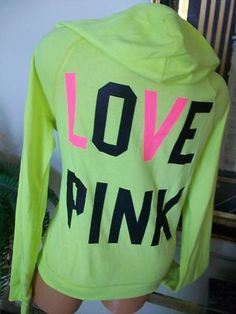 Victoria Secret Pink Hoodie Sweatshirt Neon Colors