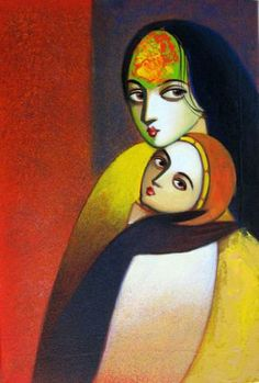 "Indian art - ""Mother Child – by Sudhir Bangar Indian Art Paintings, Modern Art Paintings, Cool Paintings, Indian Folk Art, Abstract Portrait, Hindu Art, Online Painting, Mural Art, Figure Painting"