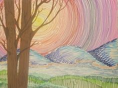 marker drawing with collaged or painted trees