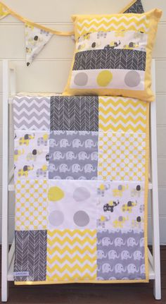 Yellow and Grey Elephant Baby Patchwork Cot / Crib Quilt by Danoah