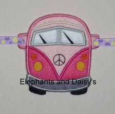 Camper Van Banner Embroidery  Design file.