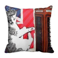 modern british flag union jack london cat fashion pillows