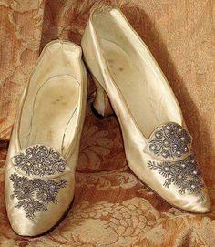 Edwardian rhinestone beaded silk dress shoes