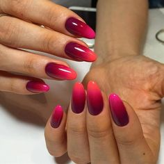 Beautiful new year's nail, Bright ombre nails, Bright summer nails, Bright summer nails ideas, Fashion nails 2017, Long nails, New years nails, Oval nails