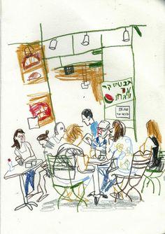 ultraMARIN: Findings from the Flea Market. More pics on Urban Sketchers, Art Sketches, Art Drawings, Art Postal, Anime Comics, Art Sketchbook, Quilt Pattern, Art Inspo, Painting & Drawing