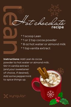 This Lean Hot Chocolate is perfect for the holiday season Hard to beat a LEAN chocolate treat! #berrygoodlife #healthychoices