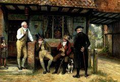 Frank Moss Bennett | Frank Moss Bennett A Friendly Discussion | Oil Painting Reproduction