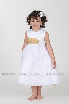 Sleeveless bridal satin bodice with crystal sheer organza overlay skirt,dress bridal quality and is made well and does not look like the cheap poly junk dresses. Yellow Flower Girl Dresses, Yellow Flowers, Dresses For Less, Sash, Bridal Dresses, Dress Skirt, Bodice, White Dress, My Style