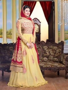 Light Yellow Georgette Anarkali Suit with Embroidery Work