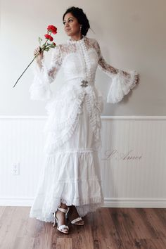 Vintage Victorian Style White Lace Wedding Bridal Dress Chic Fashion - Pure white lace wedding dress by LAmei on Etsy https://www.etsy.com/listing/179409281/vintage-victorian-style-white-lace
