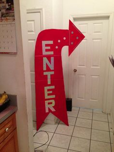 The enter sign I made. Cardboard, paint, and Duck tape sheets! Can't wait for Colossal Coaster World VBS!!!