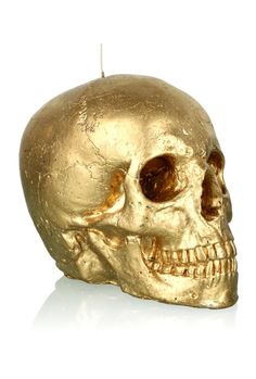 How About a Life-Size Gilt Human Skull Candle For the Holidays? Crane, Gold Skull, Skulls, Skull Candle, Buy Gifts Online, Skull Fashion, Human Skull, Skull And Bones, Memento Mori
