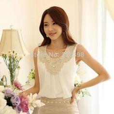Elegante Crochet diamante Lace mangas plissadas Chiffon top, Verão escritório blusas S XXXL 036 em Blusas de Roupas e Acessórios no AliExpress.com | Alibaba Group
