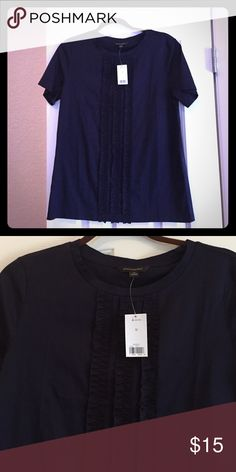 NWT Banana Republic ruffle t-shirt NWT. Navy blue. Sz. M Banana Republic Tops Tees - Short Sleeve