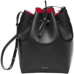 Pre-owned Mansur Gavriel Bucket Fiamma Red Large Size Shoulder Bag ($715) ❤ liked on Polyvore featuring bags, handbags, shoulder bags, black, bucket bag purse, red shoulder bag, black shoulder bag, black bucket handbag and preowned handbags
