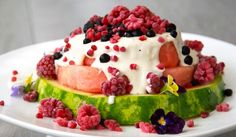 Watermelon cake with cashew cream (can also use whipped coconut cream), rasberries and blueberries. I must make this at summer - easy to make without oven, healthy and delicious!
