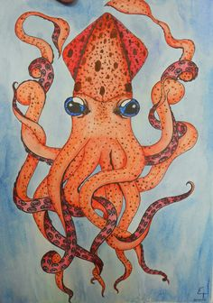 Impression of a Squid watercolor painting   April 12, 2013