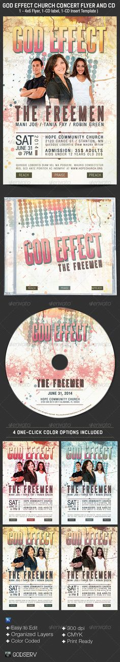 God Effect Church Concert Flyer Template - $6.00 The God Effect Church Concert Flyer Template is for gospel concerts, album releases, gosepl rock concert, talent searches and more. The painterly style gives a modern friendly appeal to a wide demographic. It's layered Photoshop files are color coded and organized in folders for easy editing. 4 different one click color options are included for ease of use. Font download links available in downloaded file.