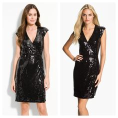 """Michael Kors Black Sequin Wrap Dress A curve-flattering dress with true-wrap styling goes all-out glam with a blanket of glistening sequins. A long, removable cord tied around the waist is finished with logo hardware.  Interior button-and-loop closure.  Approx. length from shoulder to hem: 36 1/2"""".  By MICHAEL Michael Kors.  The tag says the size is P/S (petite small).  But, it actually runs for like a small. MICHAEL Michael Kors Dresses"""
