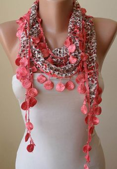 ON SALE - Perforated Fabric - Bright Salmon Scarf with Trim Edge - For Summer