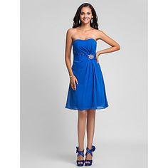 A-line Strapless Knee-length Chiffon Bridesmaid Dress – USD $ 79.99