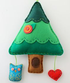Owl and Tree Felt Wall Hanging Decor Wall Art Mobile Plush Childrens Cute READY TO SHIP